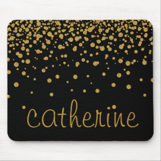 Gold Confetti Glitter Black Faux Foil Glittery Mouse Pad
