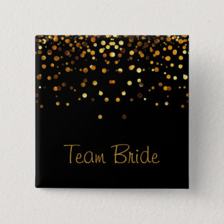 Gold Confetti Glitter Faux Foil Black Team Bride 2 Inch Square Button