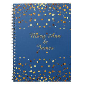 Gold Confetti Glitter Faux Foil Blue craft Spiral Note Books