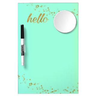 Gold Confetti Glitter Hello Baby Green Jo Sunshine Dry Erase Board With Mirror