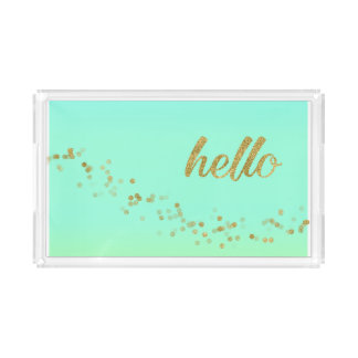 Gold Confetti Glitter Hello Green by Jo Sunshine Acrylic Tray