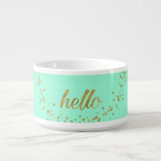 Gold Confetti Glitter Hello Green by Jo Sunshine Bowl