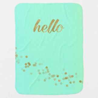 Gold Confetti Glitter Hello Green by Jo Sunshine Receiving Blanket