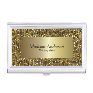 Gold Confetti Glitter Print | DIY Text Business Card Holder