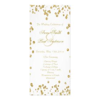 Gold confetti & glitter wedding program IV Rack Card Design
