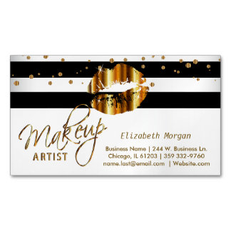 Gold Confetti & Gold Lips - Makeup Artist Magnetic Business Card