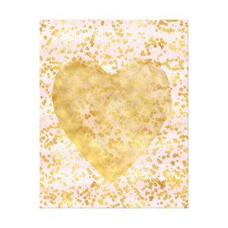 Gold Confetti Heart Canvas Print