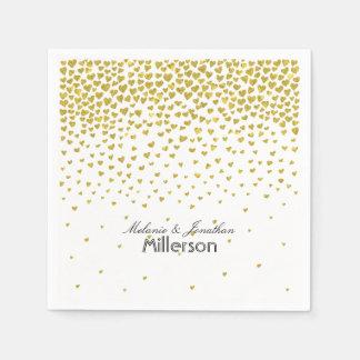 Gold Confetti Hearts Paper Napkins