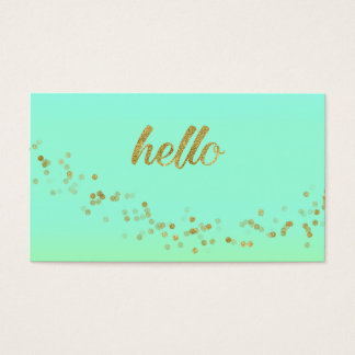 gold confetti hello green business card josunshine