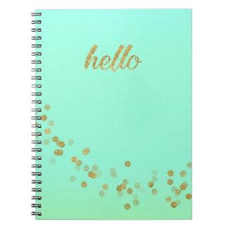 Gold Confetti Hello Mint Green by Jo Sunshine Book