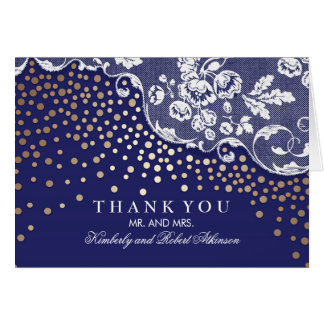 Gold Confetti Lace Navy Vintage Thank You Card