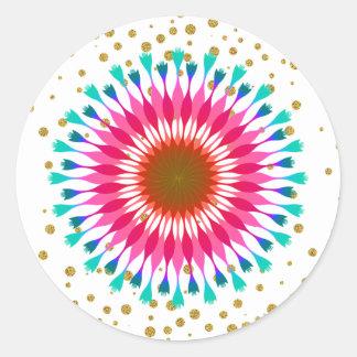 Gold Confetti Lotus Flower  Glitter Wedding Classic Round Sticker