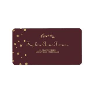 Gold Confetti Love Burgundy Wedding Label