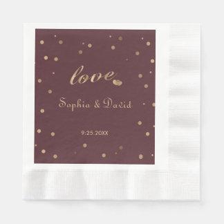 Gold Confetti Love Burgundy Wedding Paper Napkins