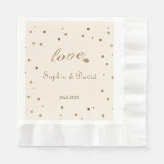 Gold Confetti Love Champagne Wedding Disposable Napkin