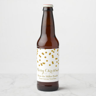 Gold Confetti Merry Christmas Beer Label