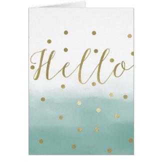 Gold Confetti Mint Watercolor Hello Card
