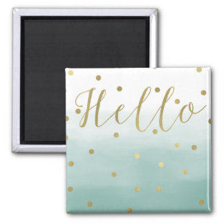 Gold Confetti Mint Watercolor Hello Magnet