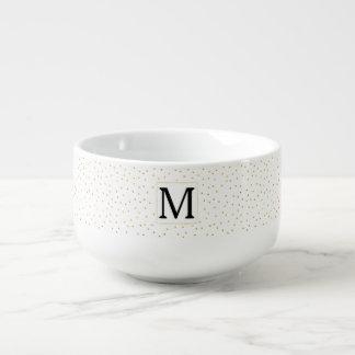 Gold Confetti Monogram Soup Mug