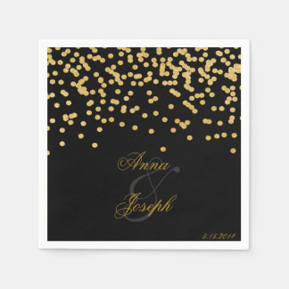 Gold confetti Napkins black II Disposable Napkins