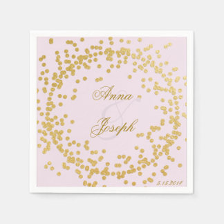 Gold confetti Napkins pink Disposable Napkins