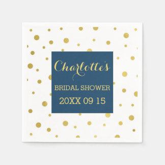 Gold Confetti Navy Blue Bridal Shower Paper Napkin