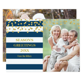 Gold Confetti Navy Blue Stripes Season's Greetings Card