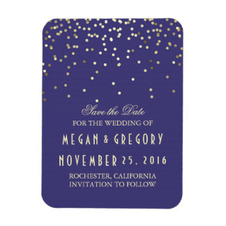 Gold Confetti Navy Vintage Save the Date Rectangular Photo Magnet