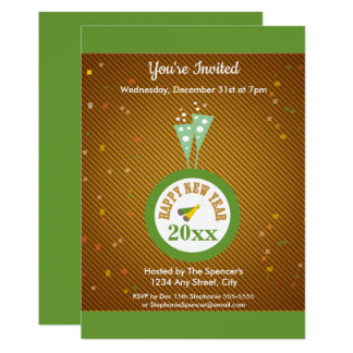 Gold Confetti New Year's Eve Party Invitation