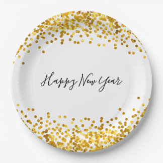 Gold Confetti New Year's Paper Plates