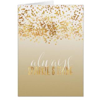 Gold Confetti Ombre Sparkle Card