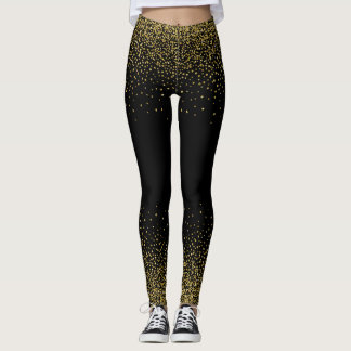 Gold Confetti On Black Leggings