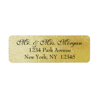 Gold Confetti on Black - Return Address Labels