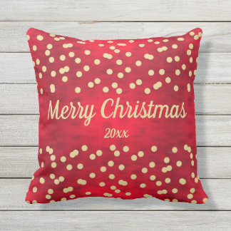 Gold Confetti on Red Christmas Pattern Outdoor Pillow