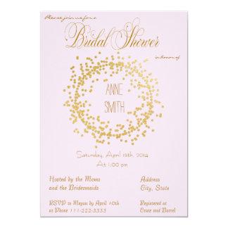 Gold Confetti pink Bridal Shower Invitation II