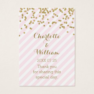 Gold Confetti Pink Stripes Wedding Favor Tags Business Card