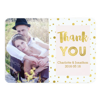 Gold Confetti Pink Wedding Thank You Photo Cards