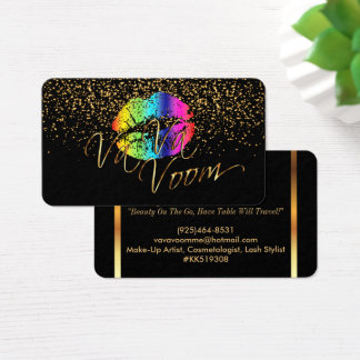 Gold Confetti & Rainbow Lips 2 - Makeup Artist Business Card