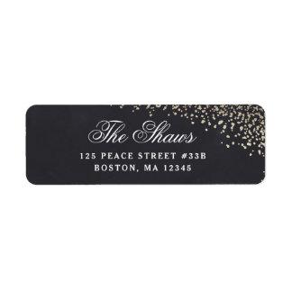 Gold confetti return address label faux foil