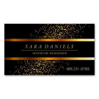 Gold Confetti Speckles and Black Magnetic Business Card