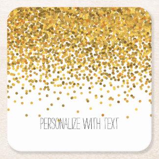 Gold Confetti Square Paper Coaster