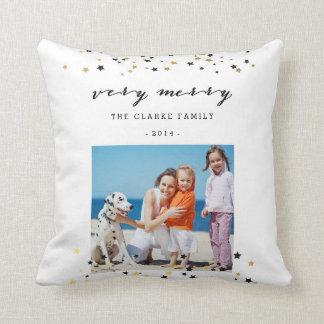 Gold Confetti Stars   Holiday Photo Throw Pillow