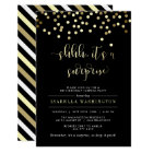 Gold Confetti Surprise Birthday Party Invitation
