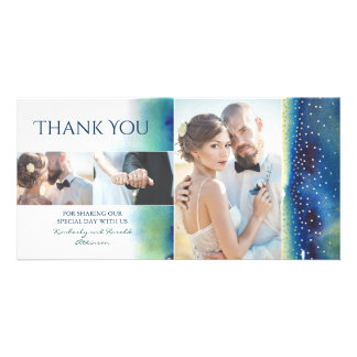 Gold Confetti Teal Watercolors Wedding Thank You Customized Photo Card