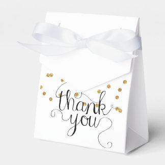 Gold Confetti Thank You Calligraphy Favor Box