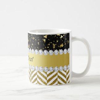 Gold Confetti Triangles Chevrons Diamond Bling Coffee Mug