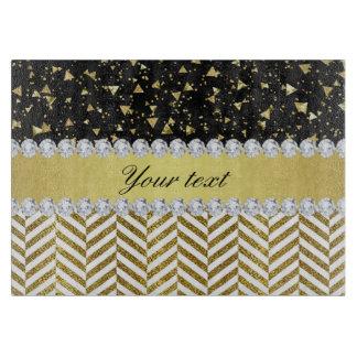 Gold Confetti Triangles Chevrons Diamond Bling Cutting Board