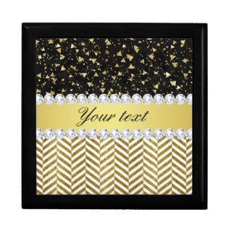 Gold Confetti Triangles Chevrons Diamond Bling Gift Box