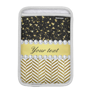 Gold Confetti Triangles Chevrons Diamond Bling iPad Mini Sleeve