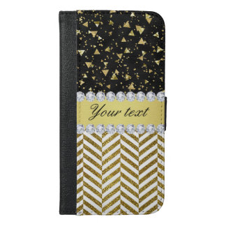 Gold Confetti Triangles Chevrons Diamond Bling iPhone 6/6s Plus Wallet Case